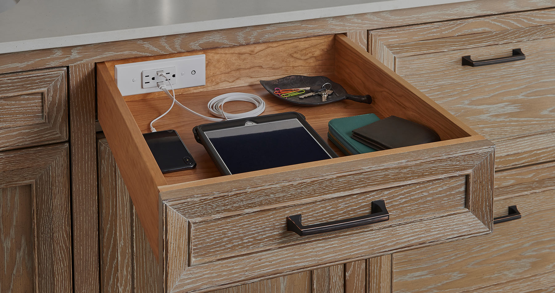 Drawer charging station outlet