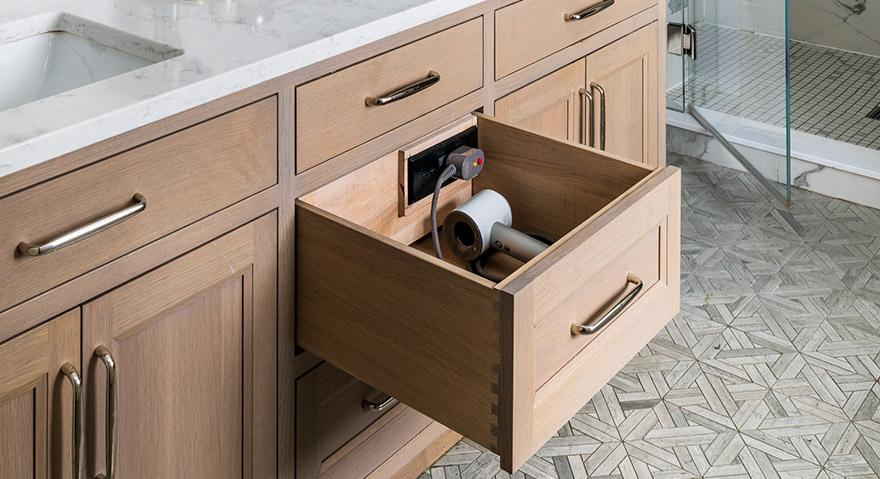 Kitchen and Bathroom Drawers Must Be Dressed: Charging Station by Docking Drawer