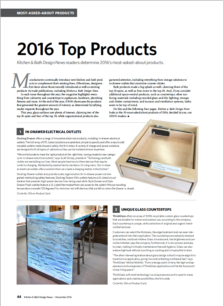 Kitchen & Bath Design News readers voted - Docking Drawer is the #1 Most-Asked-About product of 2016!
