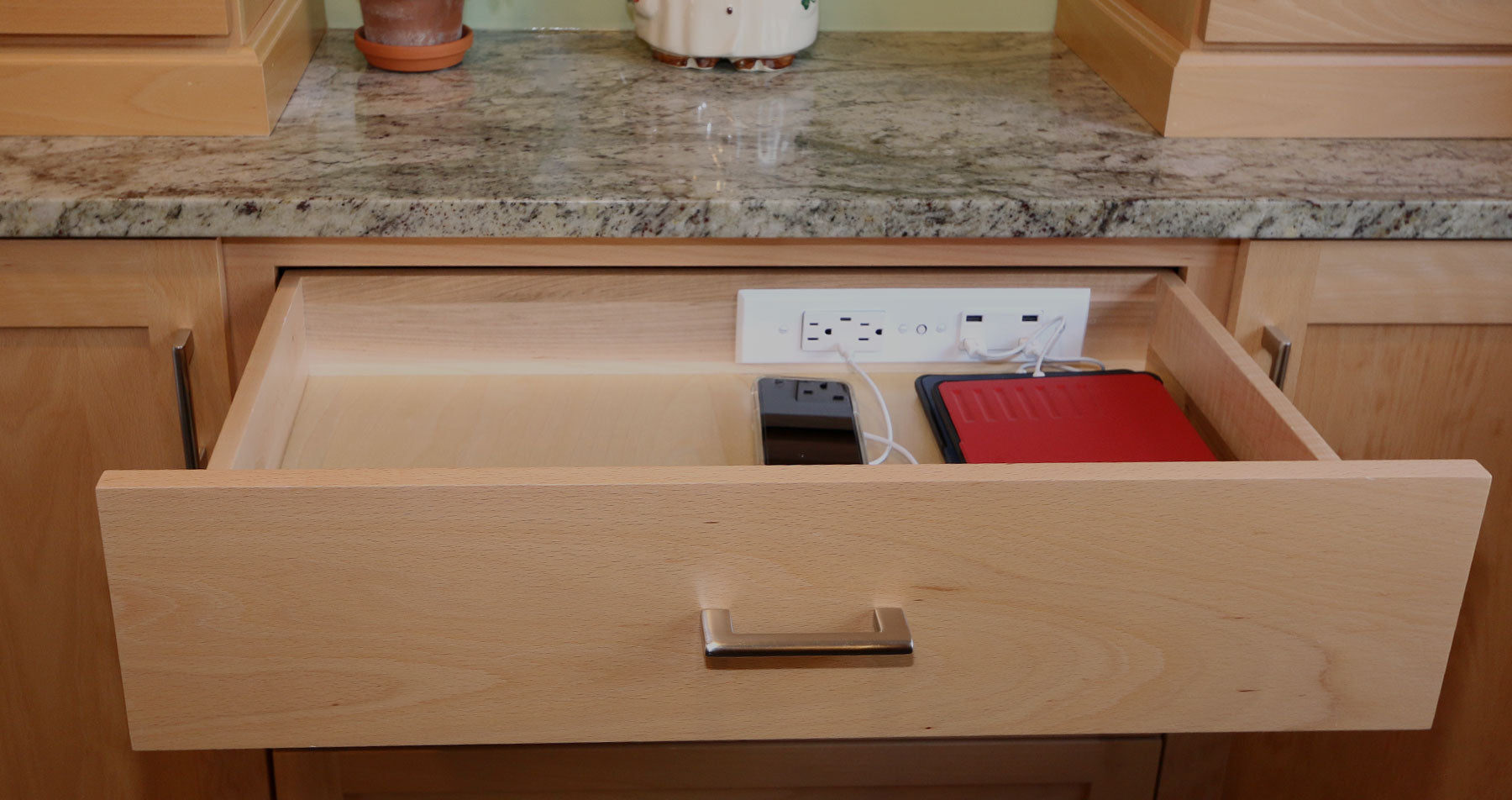 Docking Drawer charging outlet kitchen