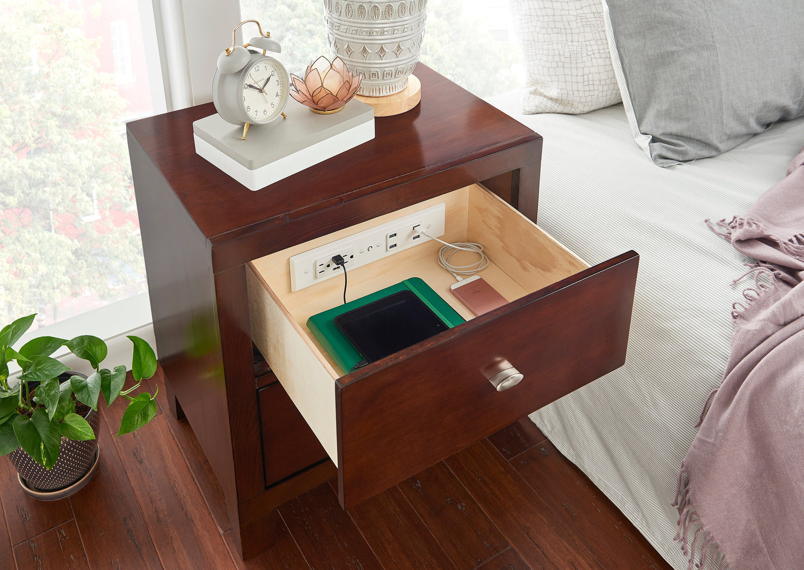 The One Upgrade Your Perfect Nightstand Is Missing Docking Drawer