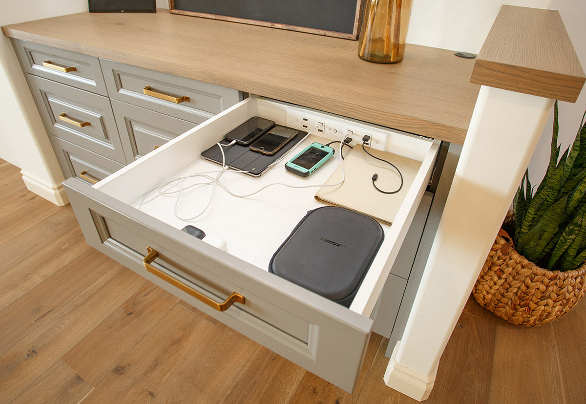 Docking Drawer Blade Duo outlet in entryway charging drawer