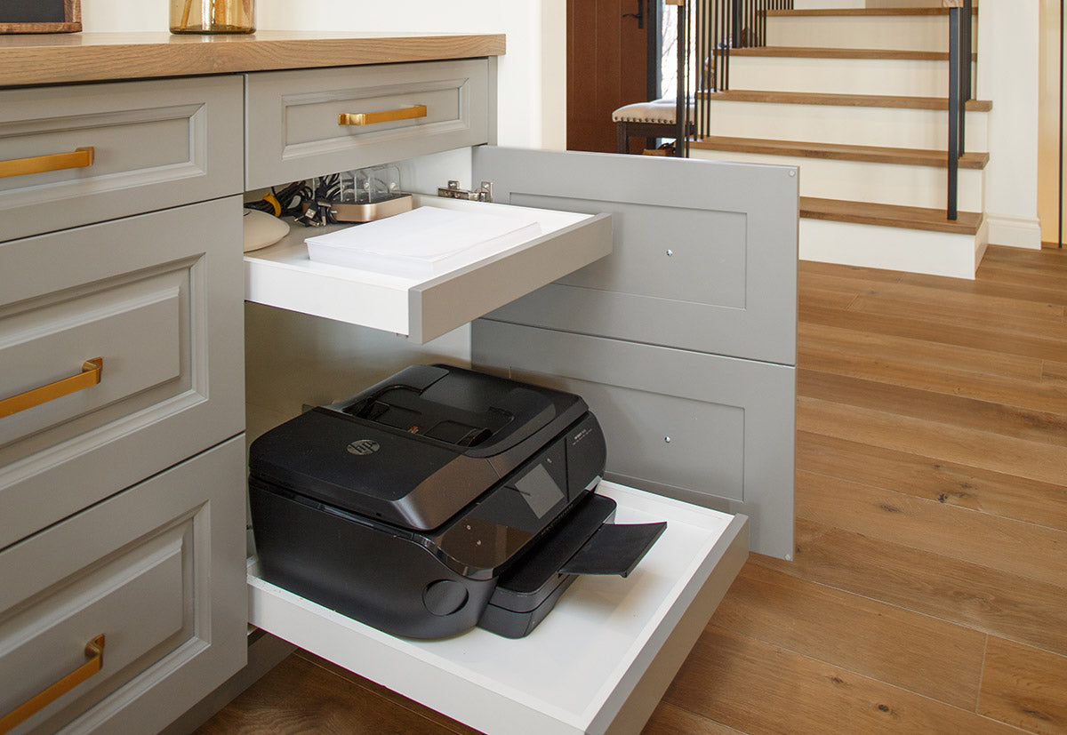 Powered printer drawer with in drawer outlet