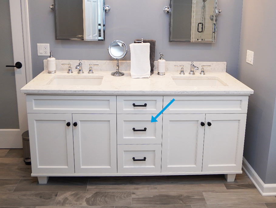 Double vanity with outlet