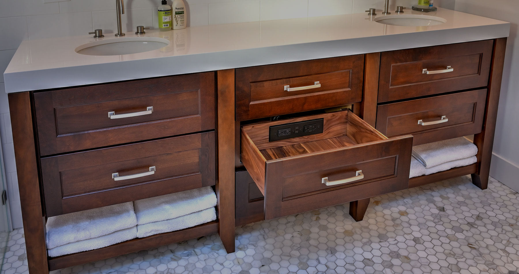 vanity drawer outlet for hair dryer