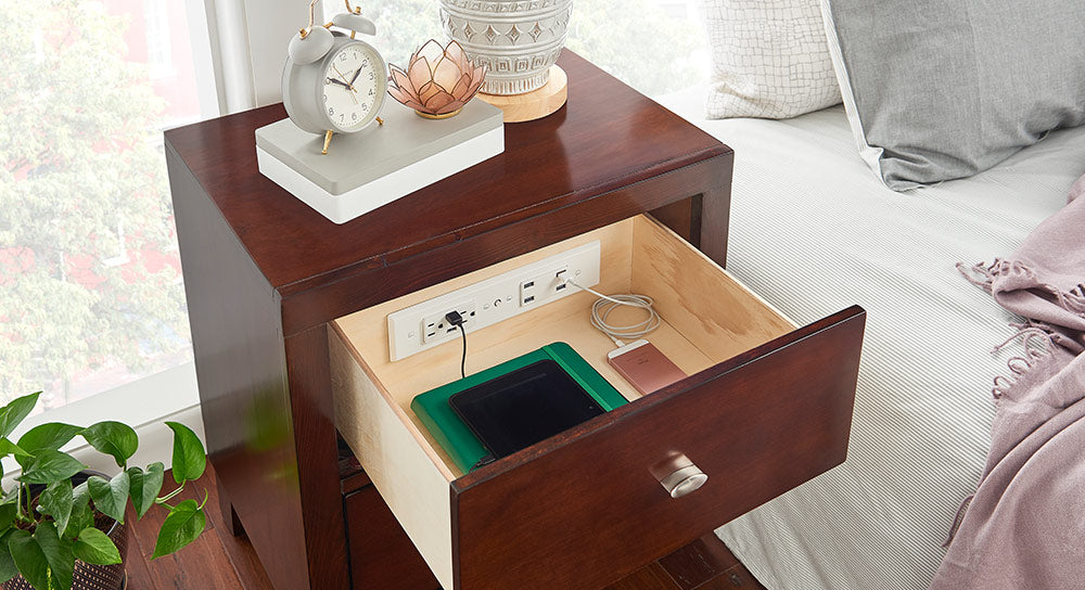 outlet in nightstand