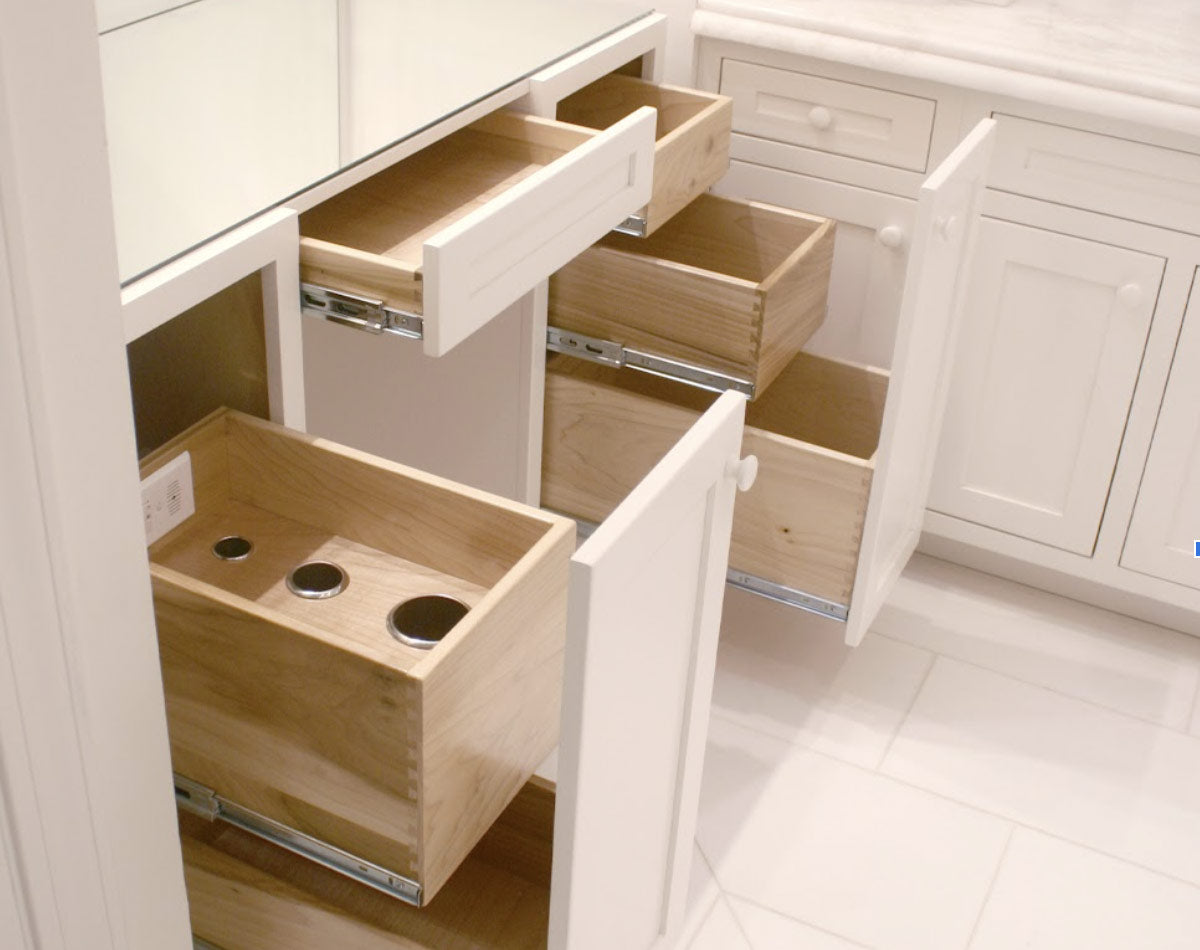 Vanity pull out organizer drawers