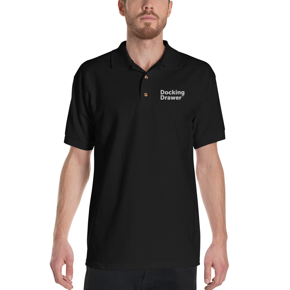 Docking Drawer Embroidered Polo Shirt (Black)