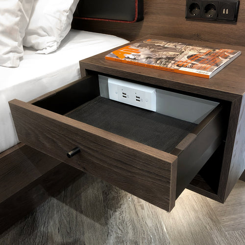 nightstand with electrical outlet