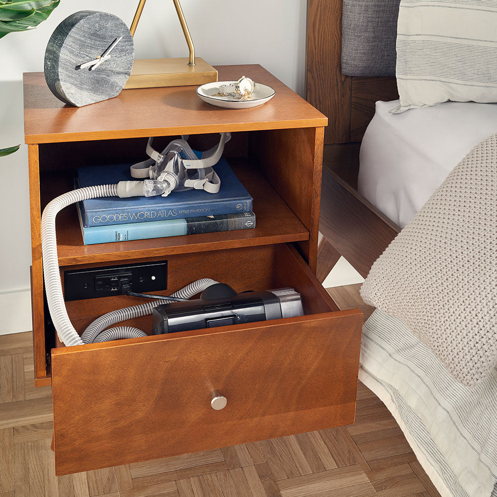 cpap nightstand drawer outlet