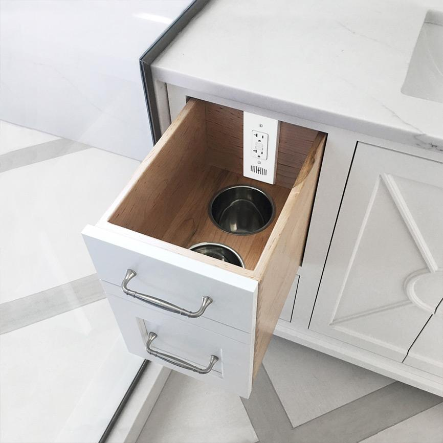 vertical bathroom in-drawer power outlet