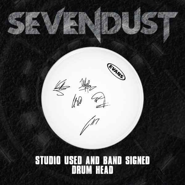 new sevendust studio used signed drum head. Black Bedroom Furniture Sets. Home Design Ideas