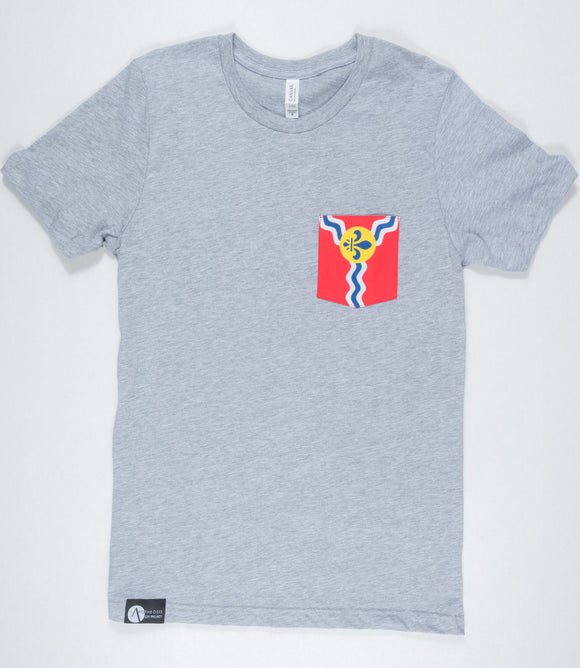 St. Louis Flag Pocket Tee - Gray (Women's)
