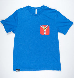 St. Louis Flag Pocket Tee Shirt-Blue