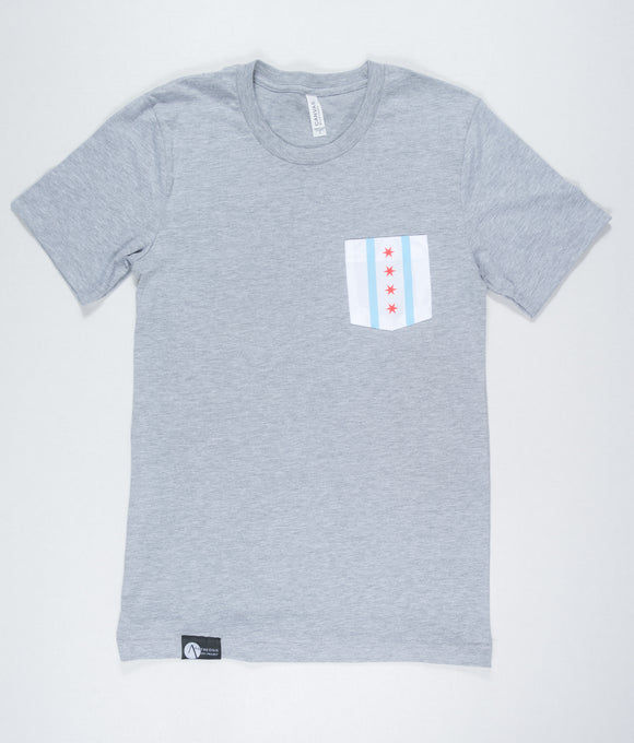Chicago Flag Tee - Gray