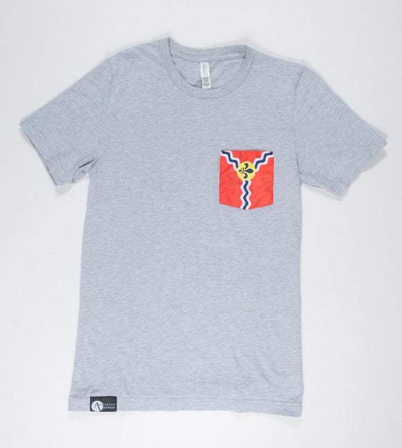 St. Louis Flag Pocket Tee Shirt-Gray