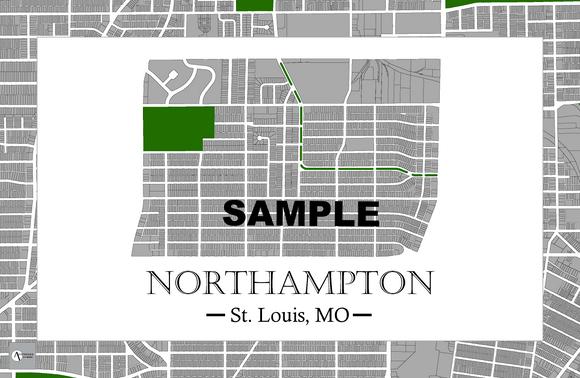 Northampton Neighborhood Map Print