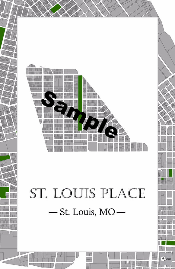St. Louis Place Neighborhood Map Print