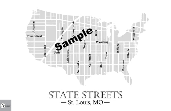 State Streets Map Print