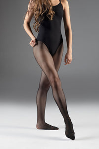 Pink Tights Black Leo Seamless Fishnets