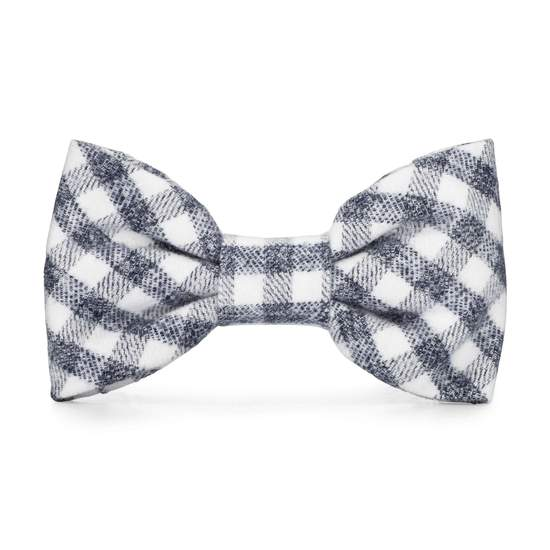 The Foggy Dog Gray + White Check Doggie Bow Tie