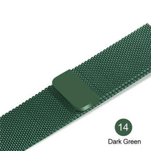 Load image into Gallery viewer, Apple Watch Band Stainless Steel Mesh w/ Magnetic Buckle 38mm/40mm/42mm/44mm Elite Fitness Essentials Dark green 42MM-44MM