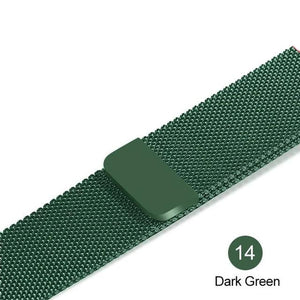 Apple Watch Band Stainless Steel Mesh w/ Magnetic Buckle 38mm/40mm/42mm/44mm Elite Fitness Essentials Dark green 42MM-44MM