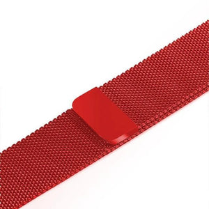 Apple Watch Band Stainless Steel Mesh w/ Magnetic Buckle 38mm/40mm/42mm/44mm Elite Fitness Essentials Red Color 38MM-40MM