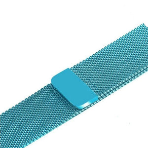 Apple Watch Band Stainless Steel Mesh w/ Magnetic Buckle 38mm/40mm/42mm/44mm Elite Fitness Essentials Sky blue 42MM-44MM