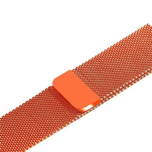 Apple Watch Band Stainless Steel Mesh w/ Magnetic Buckle 38mm/40mm/42mm/44mm Elite Fitness Essentials Vibrant orange 42MM-44MM