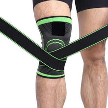 Load image into Gallery viewer, Knee Compression Sleeve Brace with Elastic Straps - CLOSE OUT Elite Fitness Essentials Green S