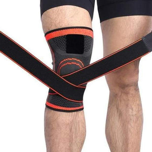 Knee Compression Sleeve Brace with Elastic Straps - CLOSE OUT Elite Fitness Essentials Orange S
