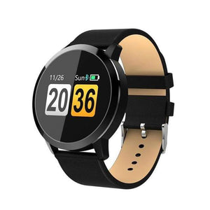 Smart Fitness Watch w/ HR & BP Monitor Elite Fitness Essentials Black Leather Strap