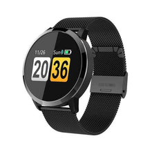 Load image into Gallery viewer, Smart Fitness Watch w/ HR & BP Monitor Elite Fitness Essentials Black Metal Strap