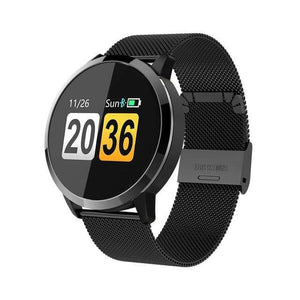 Smart Fitness Watch w/ HR & BP Monitor Elite Fitness Essentials Black Metal Strap