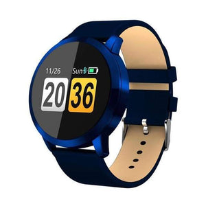 Smart Fitness Watch w/ HR & BP Monitor Elite Fitness Essentials Blue Leather Strap