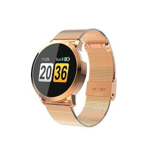 Smart Fitness Watch w/ HR & BP Monitor Elite Fitness Essentials Gold Metal Strap