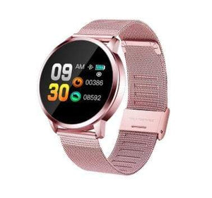 Smart Fitness Watch w/ HR & BP Monitor Elite Fitness Essentials Rose Gold Metal Strap