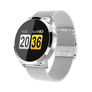 Smart Fitness Watch w/ HR & BP Monitor Elite Fitness Essentials Silver Metal Strap