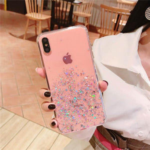 Transparent Glitter iPhone Case Elite Fitness Essentials For iPhone XS X Pink