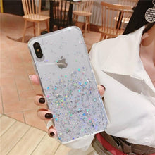 Load image into Gallery viewer, Transparent Glitter iPhone Case Elite Fitness Essentials For iPhone XS X White