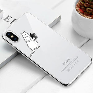 Transparent iPhone Case w/ Cartoon Character Elite Fitness Essentials For iPhone 6 Plus 09