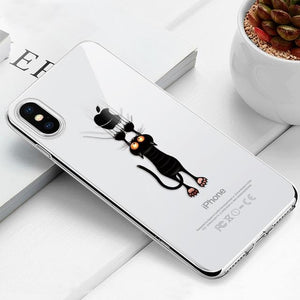Transparent iPhone Case w/ Cartoon Character Elite Fitness Essentials For iPhone 6 Plus Cat
