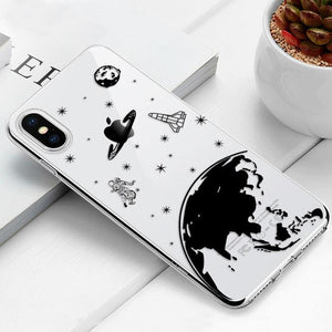 Transparent iPhone Case w/ Cartoon Character Elite Fitness Essentials For iPhone 6 Plus Space