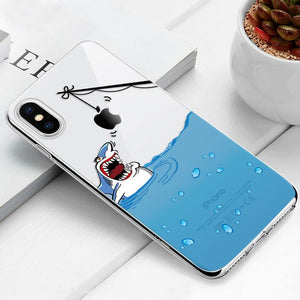 Transparent iPhone Case w/ Cartoon Character Elite Fitness Essentials For iPhone 8 Shark