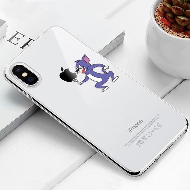 Transparent iPhone Case w/ Cartoon Character Elite Fitness Essentials For iPhone Xr Tom (Tom & Jerry)