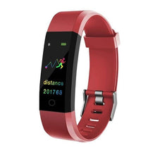 Load image into Gallery viewer, Waterproof Fitness Tracker w/ HR & BP Monitor Elite Fitness Essentials Red