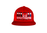 Red Iron Brothers Snapback Cap Hat With Black Company Logo At The Front