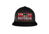 Black Iron Brothers Snapback Cap Hat With Red Company Logo At The Front