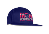 Angled View Of Blue Iron Brothers Snapback Cap Hat With Red Company Logo At The Front